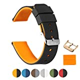 Silicone Watch Bands(Double-Sided+2 Buckles+4 Loops)iStrap One Pcs Rubber Replacement Bands Watch Straps Pin Buckles for Men and Women Smartwatches 20mm,22mm