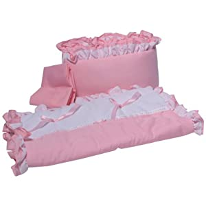 Babyoll Bedding Regal Neutral Mini Crib/Portable/Port-a-Crib Bedding Set for boy and Girly, Pink/White