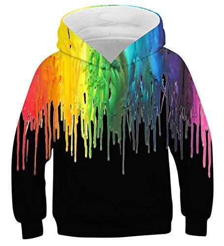 (AIDEAONE Kids 3D Unicorn Galaxy Printed Pullover Hoodie Funny Sweatshirt for Boys Girls)