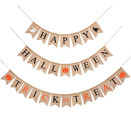 Happy Halloween Banner Trick or Treat Banner Rustic Burlap Hanging Banner Decoration with Ghost Witch Pumpkin Pattern for Halloween Party ()