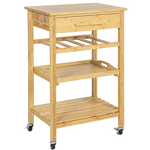 Eight24hours Rolling Wood Kitchen Storage Cart Rack With Drawer & Shelves Home Furniture by Eight24hours (Image #7)