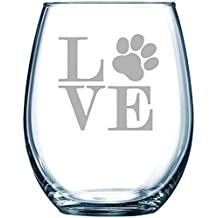 Paw print LOVE 15 oz. stemless wine glass