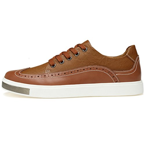Minitoo Boys Mens Wingtip Fashion Sneakers Brown