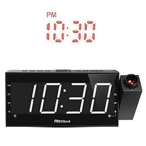 n Alarm Clock for Bedrooms, Ceiling, Kitchen, Desk, Shelf, Wall, Travel, Home - AM FM Radio, 3 Dimmer, Dual Alarm, USB Charging Port, Outlet Powered & Battery Backup Setting ()
