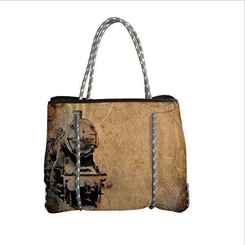 iPrint Neoprene Multipurpose Beach Bag Tote Bags,Steam Engine,Antique Old Iron Train Aged Sepia Grunge Style Design Industrial Theme Artsy Print,Brown,Women Casual Handbag Tote Bags ()