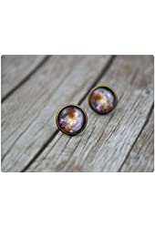 Galaxy Earrings, Galaxy Stud Earrings Nebula Earrings Universe Earrings