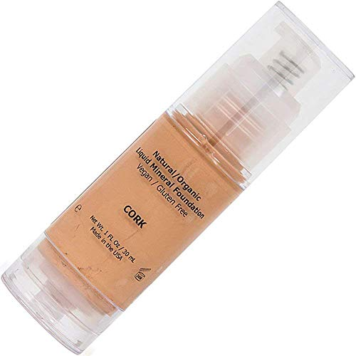 Light Medium Liquid Foundation Mineral Makeup - All Natural, Organic, Vegan, Gluten/Oil/Paraben Free, Hypoallergenic, Full Coverage For Normal/Dry/Sensitive/Acne/Rosacea/Oily/Teen/Mature Skin - Cork