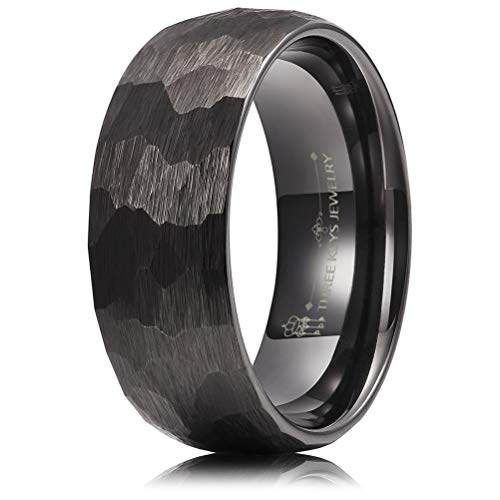 THREE KEYS JEWELRY Men Hammered Wedding Bands Tungsten 8mm Carbide Ring with Jewels Brushed Infinity Unique for Him Black Size 10