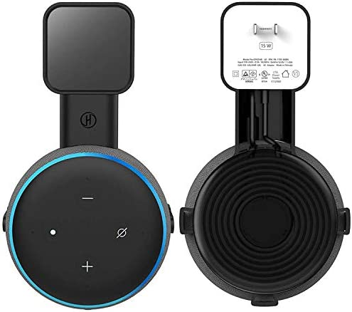 Echo Dot Wall Mount Stand/Holder Outlet Holder Stand for Dot (third Gen) Smart/Home Speakers Built-in Cable Management Without Hide Messy Wires or Screws (Black, 1-Pack)