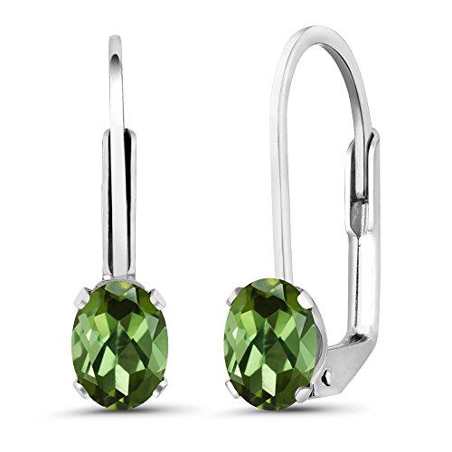 Gem Stone King 0.80 Ct Oval Green Tourmaline 925 Sterling Silver Earrings