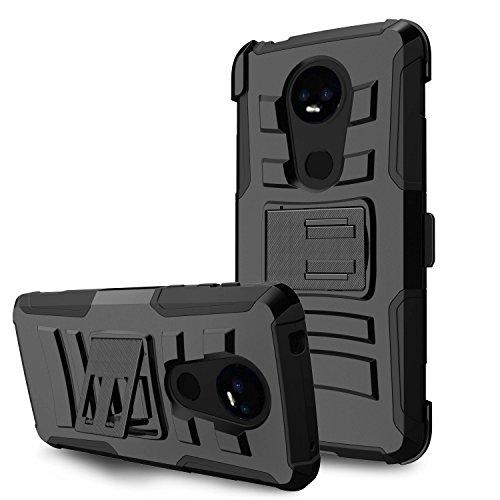 60%OFF MINITURTLE Case Compatible w/Moto E5 Plus [Horizontal/WideScreen Kickstand] Impact Resistant Heavy Duty ShockProof Kickstand & Holster Clip Protective Case [for Moto E5 Supra] - Aztec Skull
