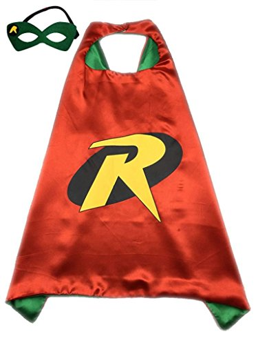Superhero or Princess CAPE Adult Teen Size, Mens Womens Halloween Costume Cloak (M (43 inches), Red & Green (Robin))