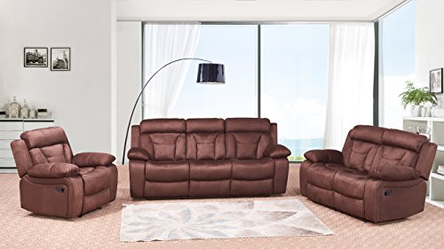 Betsy Furniture 3/2-PC Microfiber Fabric Recliner Living Room Set in Brown, Sofa Loveseat Chair Pillow Top Backrest and Armrests 8005 [Pre-order, shipping on 11/20] (3, Living Room Set 3+2+1)