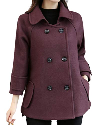(Coolred-Women Textured Wool and Warm Slim Casual Short Walker Coat Purple M)