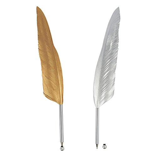 Feather Silver Pens (Feather Ballpoint Pens – 2-Count Feather Calligraphy Pens, Quill Luxury Pens for Writing, Signatures, Executive Desk Pens, Gold and Silver, 12.4 Inches in Length)