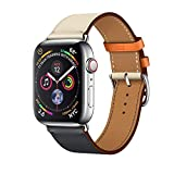 LeafBoat Compatible with Apple Watch Band 44mm Genuine Leather Stitching Color Strap,Bracelet Wristband Stainless Steel Adapter Clasp for Apple Watch 4,44mm Single Tour-Blue/Pink/White/Orange
