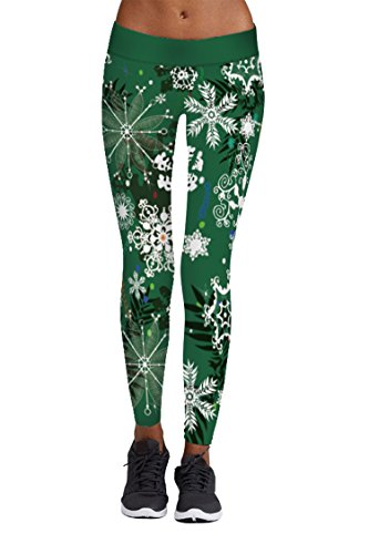 Pink Queen Women's Yoga Full Length Spandex Snowflake