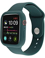 Silicone Watch Band And Case (44mm) One Piece Shockproof Protective For Apple Watch Series 6/5/4/SE - Pine Green