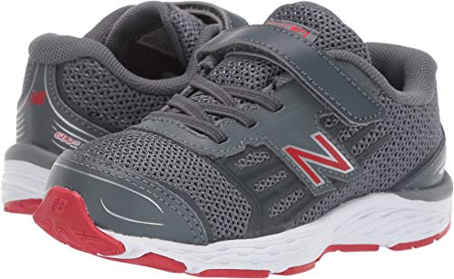 New Balance Boys' 680v5 Hook and Loop Running Shoe, Lead/red, 9 XW US Toddler