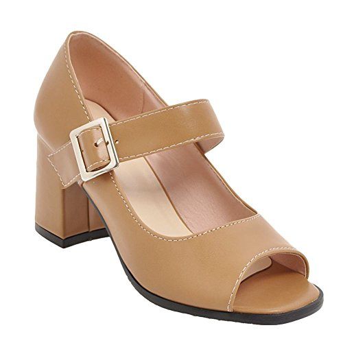 Carolbar Women's Solid Color Block High Heel Peep Toe Mary Jane Shoes apricot