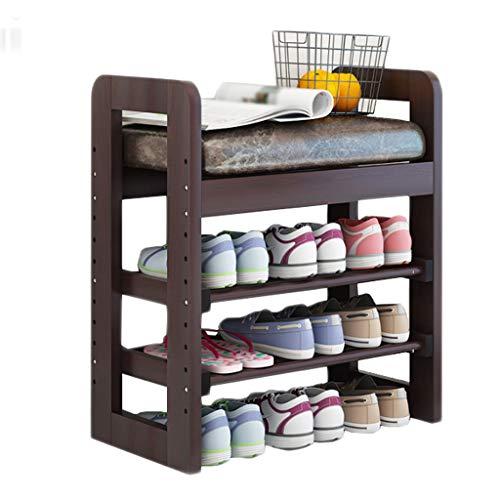 Heightening Shoe Bench Wooden Chair Adjustable Double Storage Rack Sofa Rest Living Room Balcony Corridor 3 Color Optional 51cm30cm60cm MUMUJIN (Color : Brown, Size : 71cm)