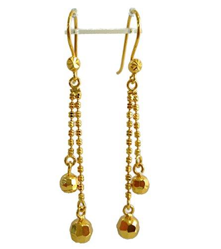 24k Yellow Gold Plated 50mm Long Double Disco Balls Chain Drop Dangle Earrings for Teen Girls - Chain Earrings 24k