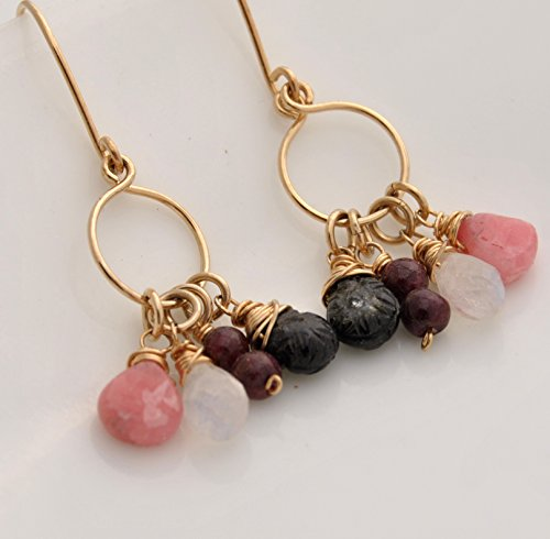 Gold 14kt Drop Tourmaline Cluster - Tourmaline, Rhodocrosite, Tourmaline, Rainbow Moonstone 14kt yellow gold fill Earrings
