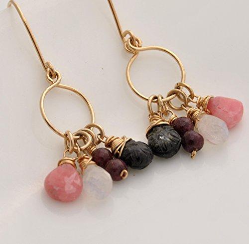 Gold Drop 14kt Tourmaline Cluster - Tourmaline, Rhodocrosite, Tourmaline, Rainbow Moonstone 14kt yellow gold fill Earrings