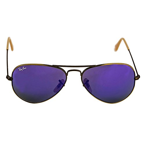 Ray-Ban RB3025 Aviator Sunglasses Brushed Bronze w/Violet Mirror (167/1M) RB 3025 1671M - Ban Flash Mirror Ray