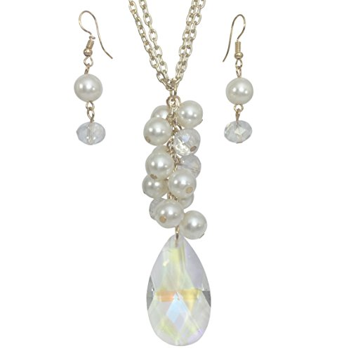 Gypsy Jewels Long Simple Cluster Chandelier Glass Bead Drop Ring Necklace & Earrings Set (Imitation Pearl & AB Clear)