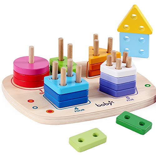 ATDAWN Wooden Educational Toys, Wooden Shape Color Sorting, Preschool Stacking Blocks, Toddler Puzzles Toys for Boys and Girls (Style 1)