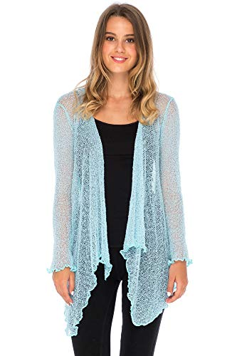 Back From Bali Womens Long Lightweight Sheer Cardigan Hoodie Open Front Hooded Knit Sweater Long Sleeve Powder Blue