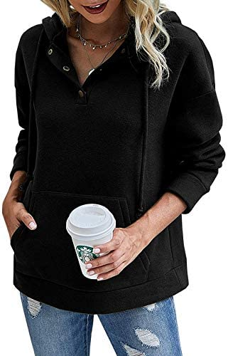 Vermisse Womens Pullover Hoodies 1/4 Button Up Long Sleeve Casual Hooded Sweatshirts with Pocket