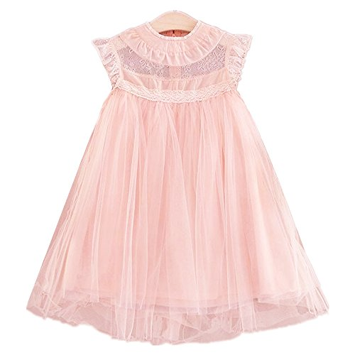 2Bunnies Girl Vintage Lace Flutter Sleeves Princess Party Dress (Pink, (Lace Princess Sleeves)