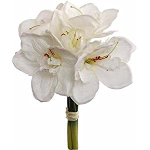 "Afloral Amaryllis Silk Flower Bundle in White - 13"" Tall 84"