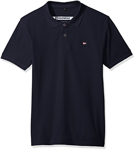 Southpole Men's Classic Short Sleeve Solid Polo Shirt, Navy, XX-Large