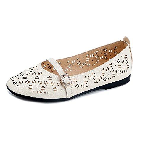 RUGAI-UE Sandalias de mujeres respirables y cómodas sandalias de verano nuevas mujeres, cabeza redonda, boca baja, marea cómoda. Beige