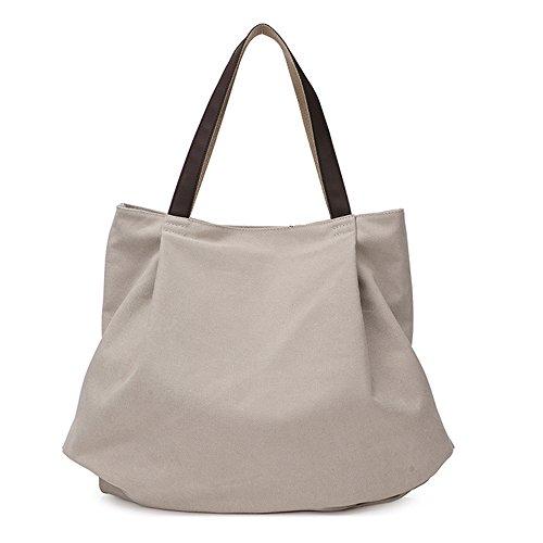 BYD - Mujeres Large School Bag Bolsos totes Shopping Bag Canvas Bag Color puro Carteras de mano Blanco