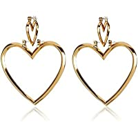 ERAWAN Women Fashion Gold Double Heart Hoop Earrings Dangle Hollow Ear Studs Jewelry EW sakcharn (Gold)