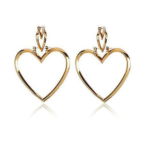 (1 Pair Womens Hoop Gold Double Heart Earrings Dangle Hollow Ear Stud LOVE STORY nogluck (Gold))