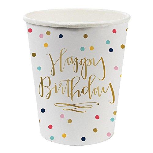 Happy Birthday Confetti Foil Design Paper Drinking Cups - 8 oz, 8 Count