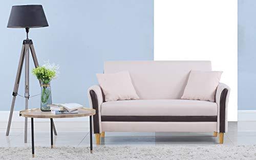 (Divano Roma Furniture Modern 2 Tone Small Space Linen Fabric Loveseat (Beige))