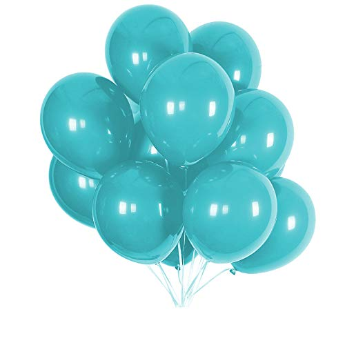 Party Balloons; 12-inch Latex Balloons 50 pcs, Wedding, Birthday Party, Baby Shower, Christmas Party Decorations (Tiffany Blue)]()