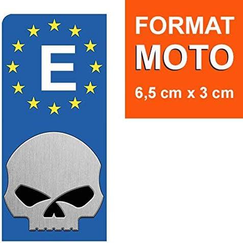 DECO-IDEES 1 Pegatina de la matrícula Moto, Espana, 1 Sticker pour Plaque dimmatriculation Moto, Espagne, Harley Davidson Skull - Garantizamos Este Adhesivo de 5 años.: Amazon.es: Coche y moto