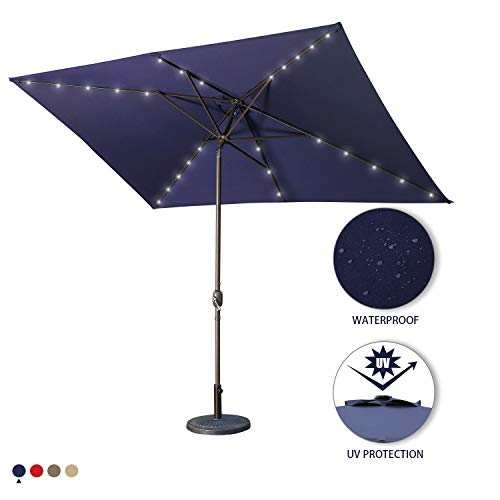 Aok Garden 10 Ft LED Lighted Patio Outdoor Umbrella Solar Power Market Table Fade-Resistant Umbrella with Push Button Tilt & Crank and 8 Sturdy Ribs,Navy -