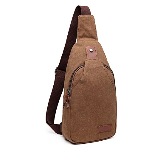Outdoor Men's Sling Unbalanced Chest Brown Bag Leisure Camping Sports Wenl Bike Canvas Crossbody wxYp1w
