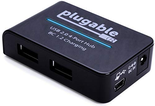 Plugable USB 2.0 4-Port High Speed Charging Hub with 12.5W P