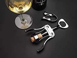 Wine Opener Set - Wing Corkscrew with Foil Cutter & Bottle Stopper in Black Gift Box by De Rigueur