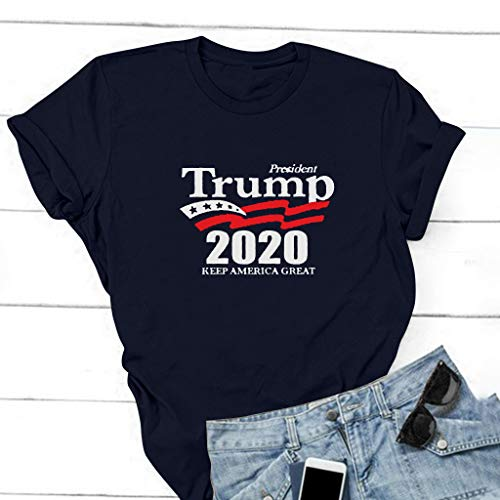 Unisex ???????????????????? Letter Print Shirts for 2020 O-Neck Short Sleeves Top Navy