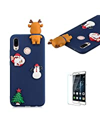 Cute Cartoon Case For Huawei P20 Lite,Funyee Stylish 3D Christmas Deer Design Ultra Thin Soft TPU Silicone Case for Huawei P20 Lite,Anti-scratch Rubber Durable Shell Smart Phone Case with Free Screen Protector,Blue